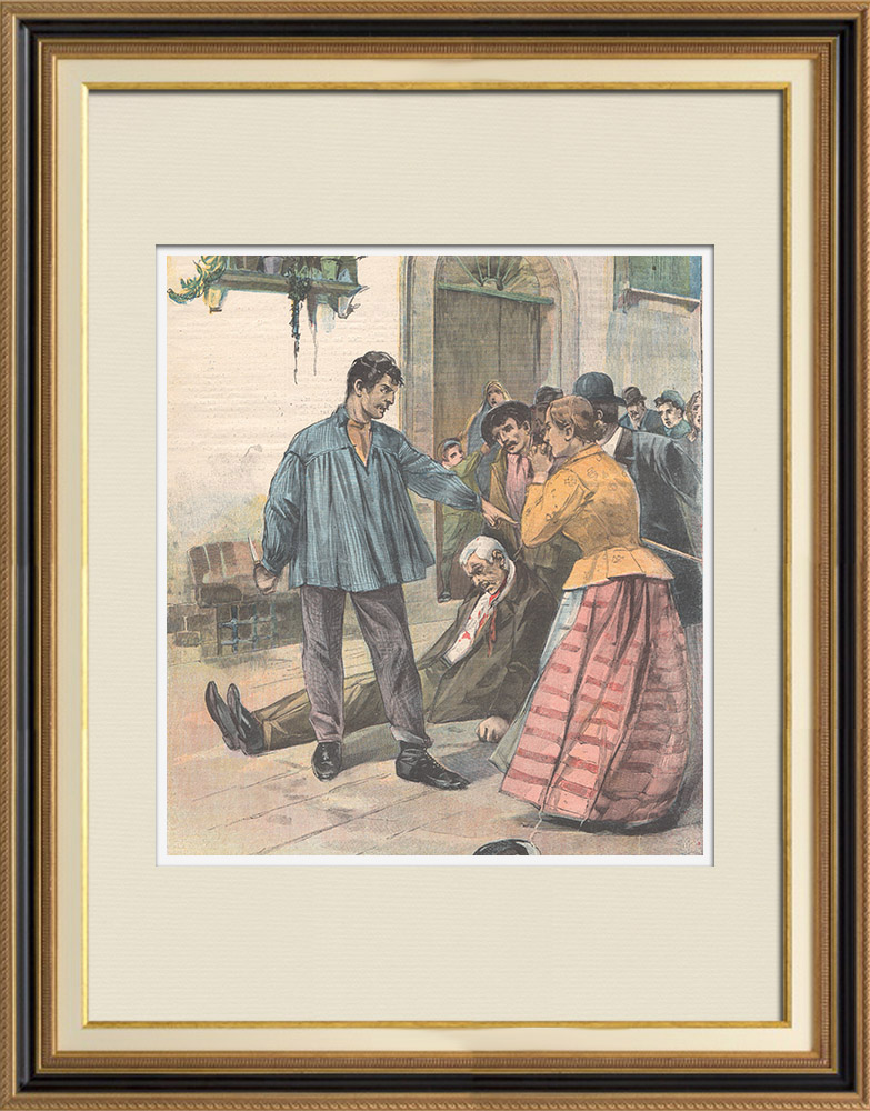 Antique Prints & Drawings | Vendetta of a brother in Livorno - Tuscany - Italy - 1898 | Wood engraving | 1898