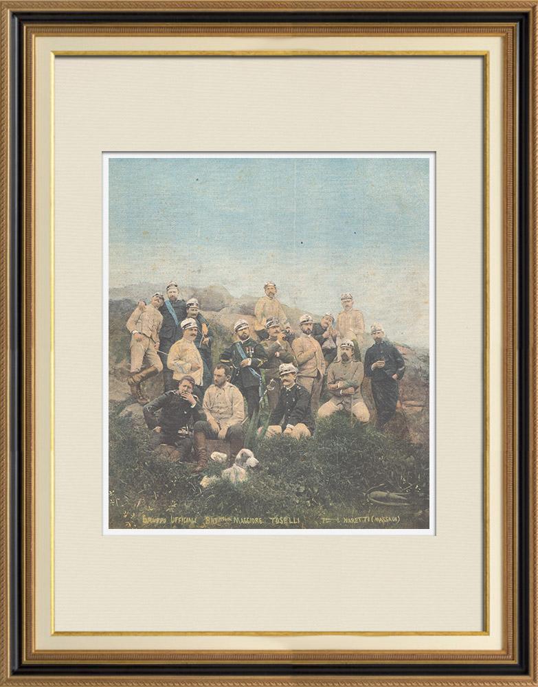 Gravures Anciennes & Dessins | Guerre italo-éthiopienne - Maggiore Toselli et ses officiers près de Amba-Alagi - Ethiopie - 1896 | Gravure sur bois | 1896