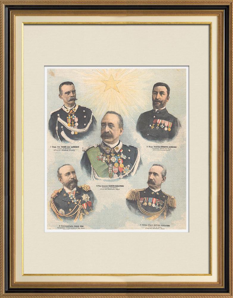 Antique Prints & Drawings   Italian Commanders in Africa - Italo-Ethiopian War - XIXth Century   Wood engraving   1896