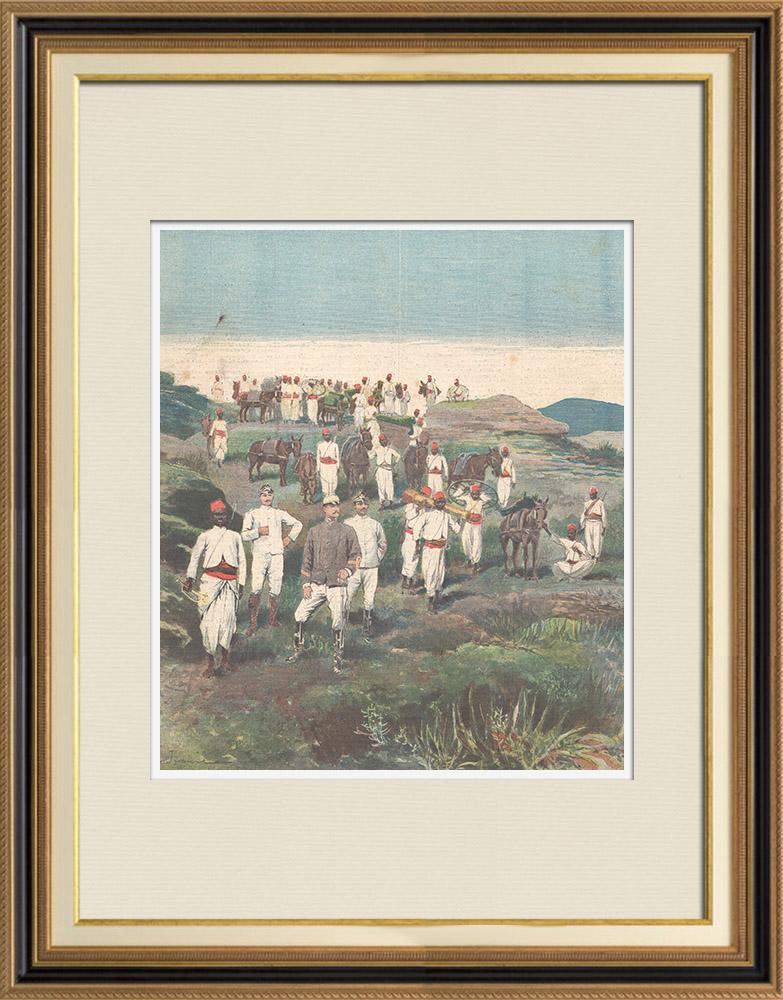 Antique Prints & Drawings   Italo-Ethiopian War - Defeat of lieutenant Scala - Amba Alagi - Ethiopia - 1896   Wood engraving   1896