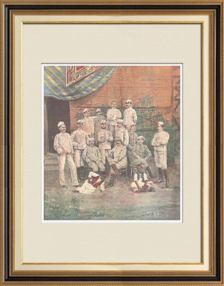 Gravures Anciennes & Dessins | Bataillon de Chasseurs d'Afrique - Colonel Giuseppe Galliano et Officiers - Italie - 1896 | Gravure sur bois | 1896