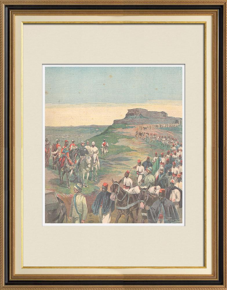 Antique Prints & Drawings   Italo-Ethiopian War - Evacuation of the Macallè fort - Ethiopia - 1896   Wood engraving   1896