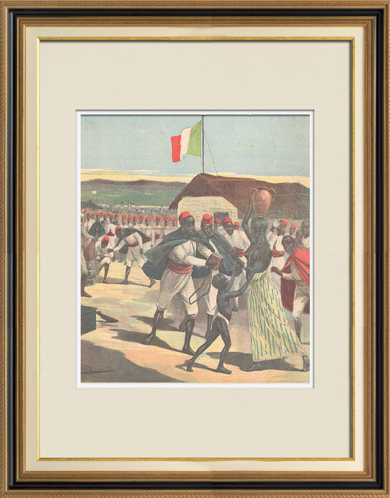 Antique Prints & Drawings | Italo-ethiopian War - End of the siege of Macallè - Water distribution - Ethiopia - 1896 | Wood engraving | 1896