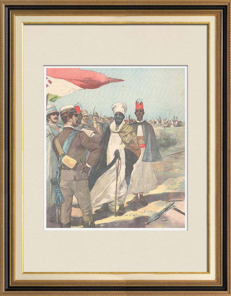 Gravures Anciennes & Dessins | Guerre italo-éthiopienne - Arrestation d'un prêtre Abyssin par nos avant-postes - Ethiopie - 1896 | Gravure sur bois | 1896