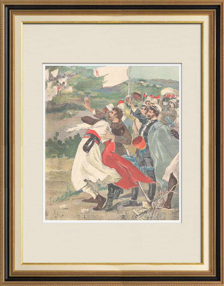 Antique Prints & Drawings   Events in Africa - Return of the hostages to the italian camp - 1896   Wood engraving   1896