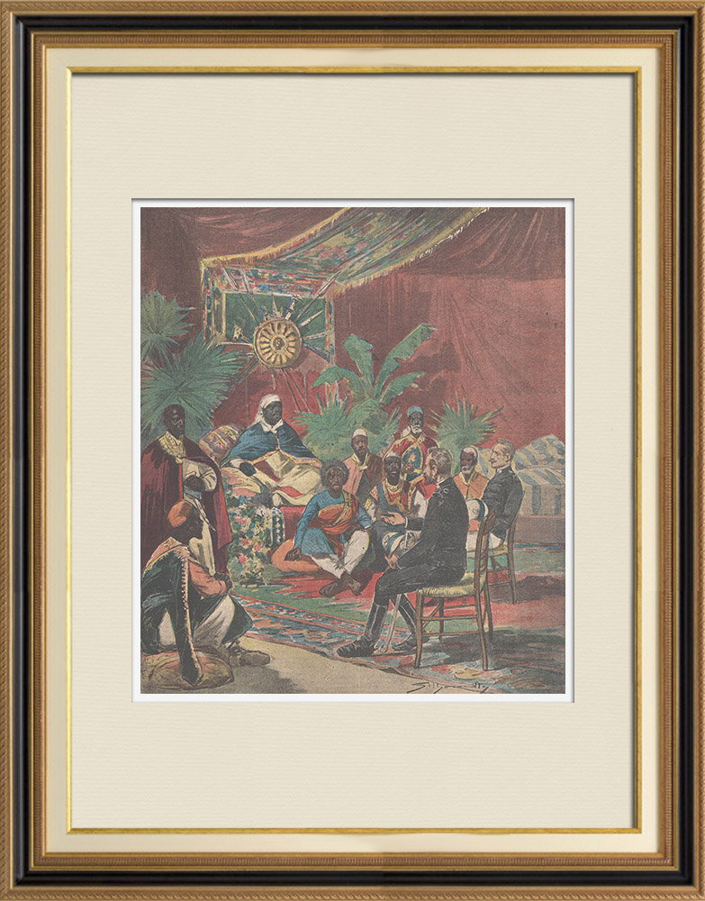 Antique Prints & Drawings | Peace attempts in Africa in Africa between Menelik II and the Italian officers - Ethiopia - 1896 | Wood engraving | 1896