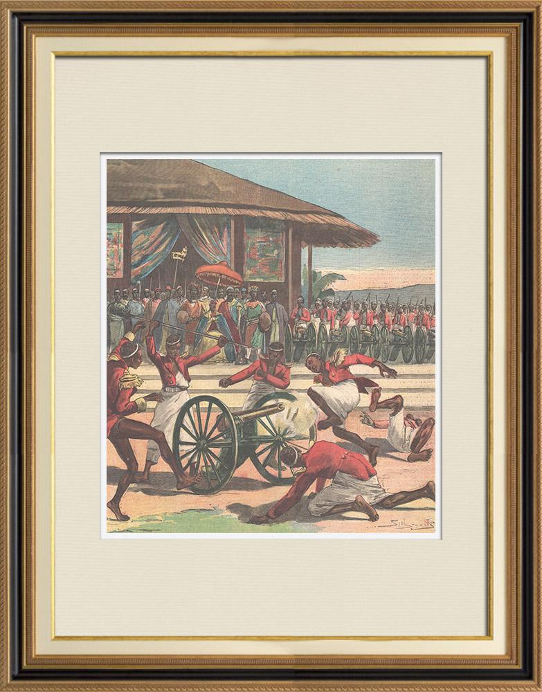 Antique Prints & Drawings | Italo-Ethiopian War - Artillery of Menelik II - Ethiopia | Wood engraving | 1896
