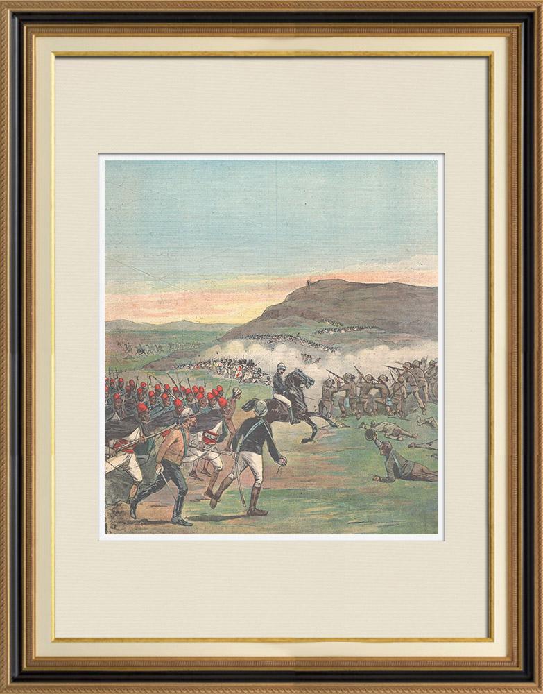 Gravures Anciennes & Dessins | Evènements en Afrique - Combat d'Alequa - Ethiopie - 1896 | Gravure sur bois | 1896