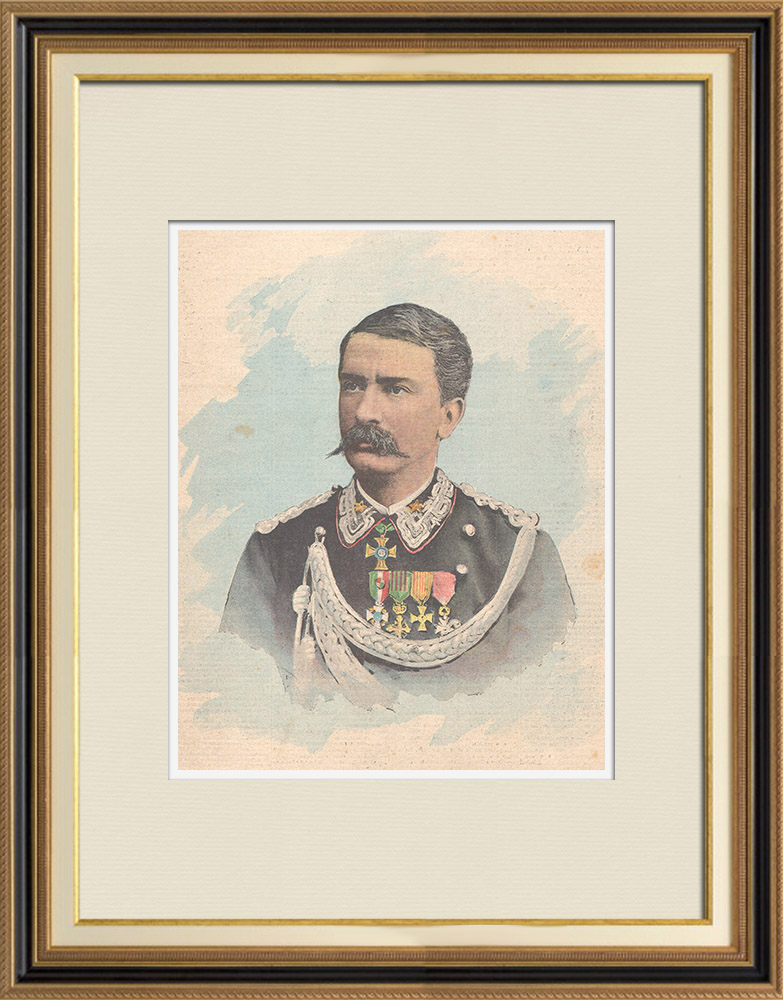 Gravures Anciennes & Dessins   Portrait du lieutenant-général Antonio Baldissera (1838-1917)   Gravure sur bois   1896
