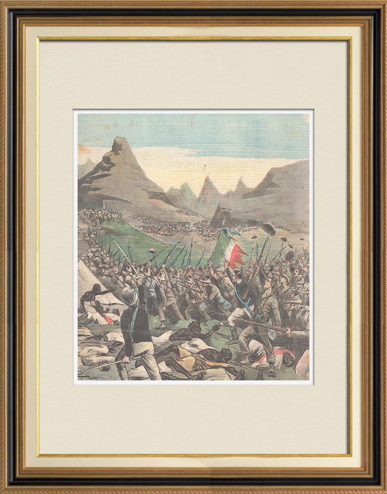 Antique Prints & Drawings   Italo-Ethiopian War - Battle of Abba Garima - Brigade Dabormida - Ethiopia - 1896   Wood engraving   1896