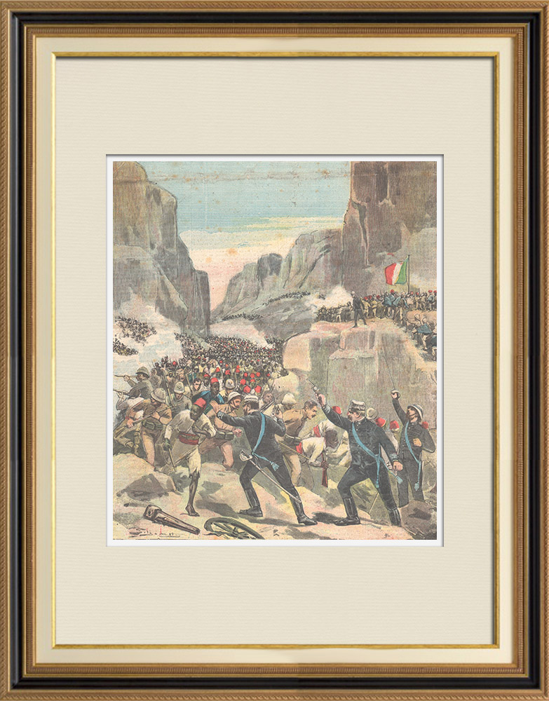 Antique Prints & Drawings | Battle of Abba Garima - The troops gathered around the flag - Ethiopia - 1896 | Wood engraving | 1896