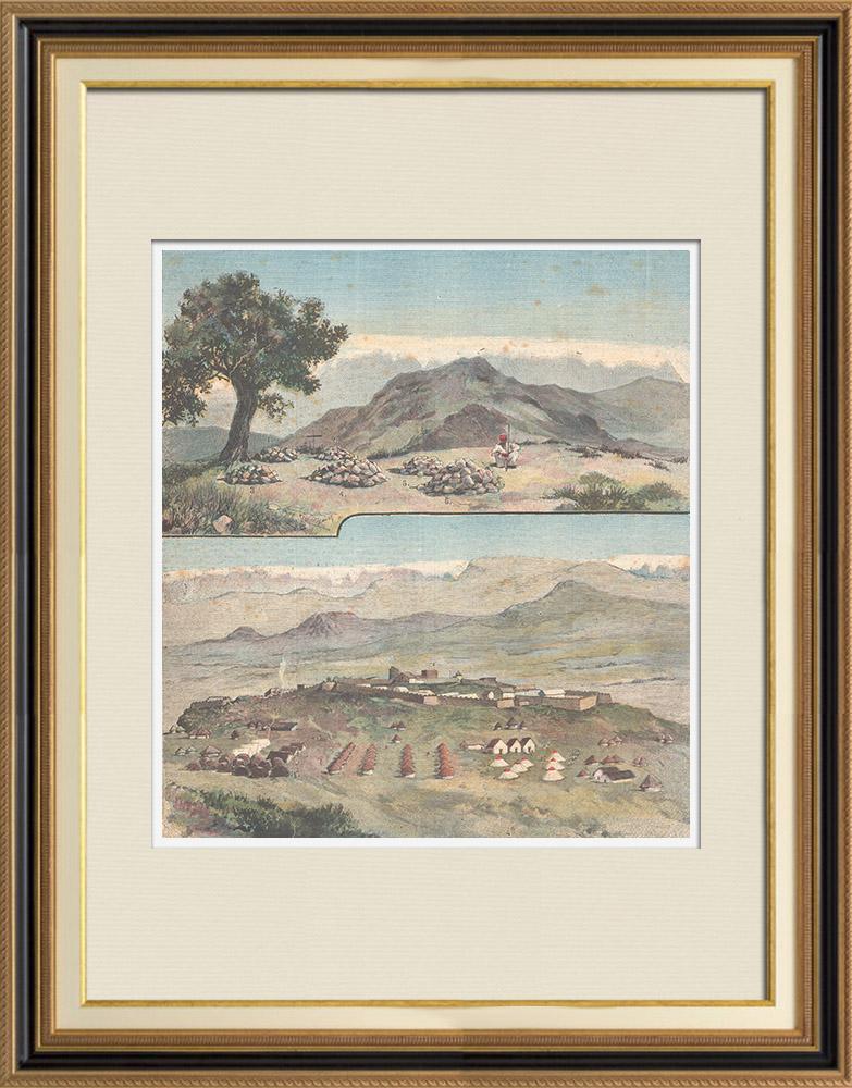 Antique Prints & Drawings | Italo-Ethiopian War - Tombs of the dead of Alequa - Fort Adigrat - Ethiopia - XIXth Century | Wood engraving | 1896