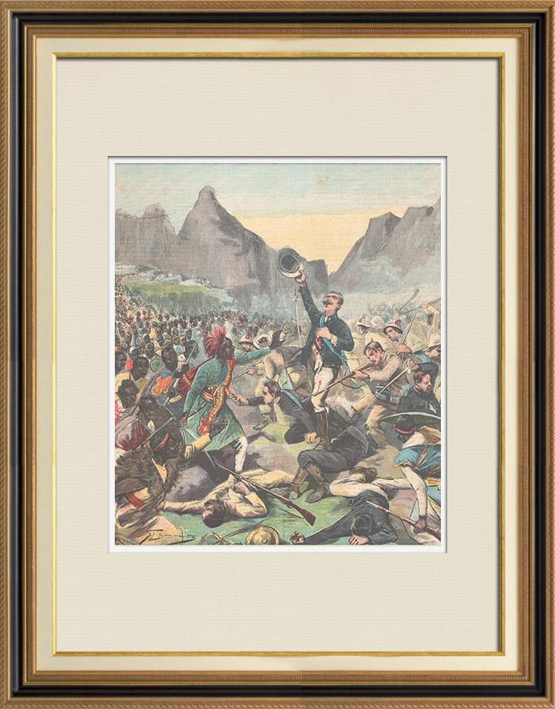 Antique Prints & Drawings | Battle of Abba Garima - Death of General Da Bormida - Ethiopia - 1896 | Wood engraving | 1896