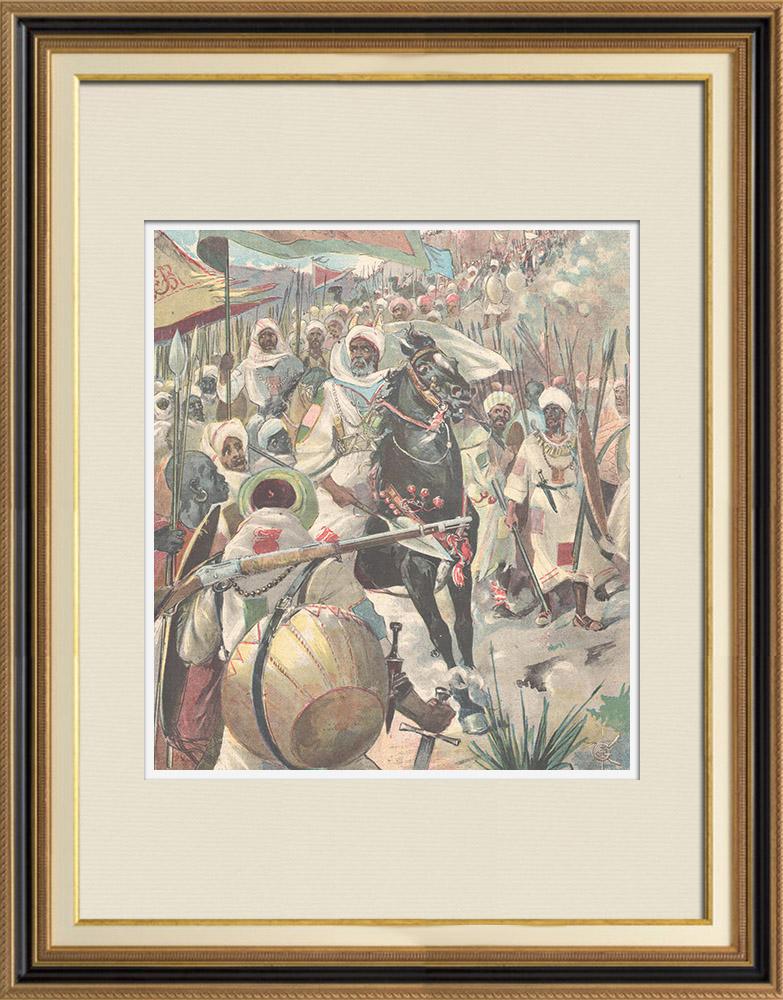 Antique Prints & Drawings   Mahdist War - An Emir Dervish and his escort to Kassala - Sudan - 1896   Wood engraving   1896