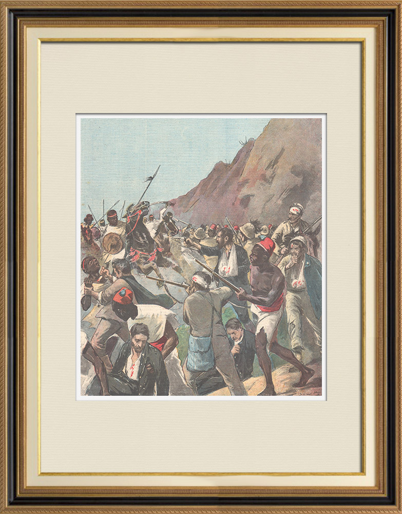 Antique Prints & Drawings | Battle of Adwa - The Galla soldiers attack the Italian wounded - Ethiopia - 1896 | Wood engraving | 1896
