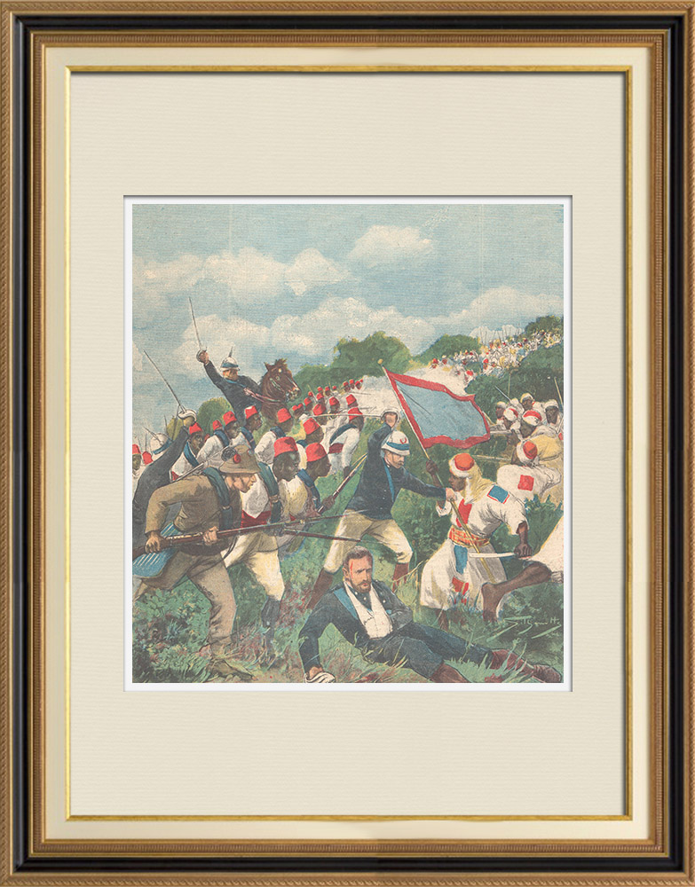 Antique Prints & Drawings | Mahdist War - Fight of Tucruf - Death of Umberto Partini - Sudan - 1896 | Wood engraving | 1896