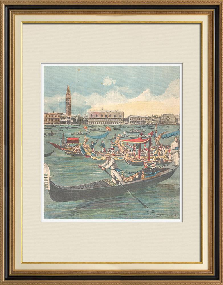 Gravures Anciennes & Dessins | Conférence des Souverains d'Allemagne et d'Italie - Lagune de Venise - Italie - 1896 | Gravure sur bois | 1896