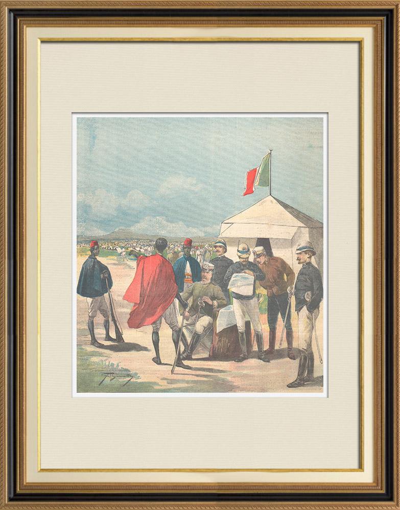 Antique Prints & Drawings | Italo-Ethiopian War - Examination of a native by general Baldissera - Ethiopia - 1896 | Wood engraving | 1896