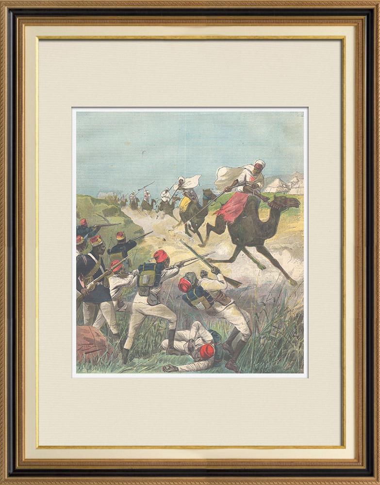 Antique Prints & Drawings   Mahdist War - Dervish horsemen cross the Anglo-Egyptian lines - 1896   Wood engraving   1896