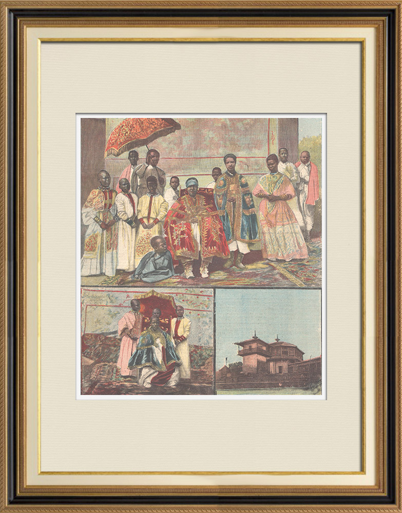 Antique Prints & Drawings | Empress Taitù Batùl and her court - Ethiopia | Wood engraving | 1896