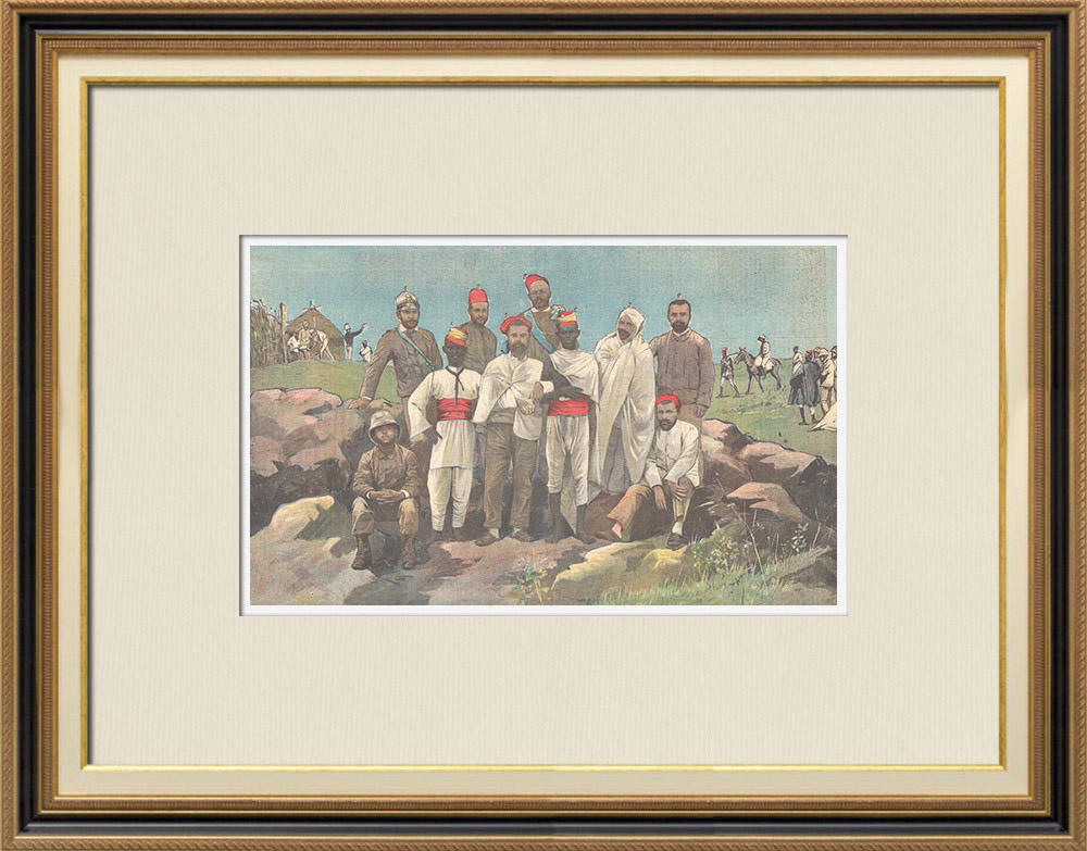Antique Prints & Drawings | Italo-Ethiopian War - Officers wounded in the war of Abba Garima - Ethiopia - 1896 | Wood engraving | 1896