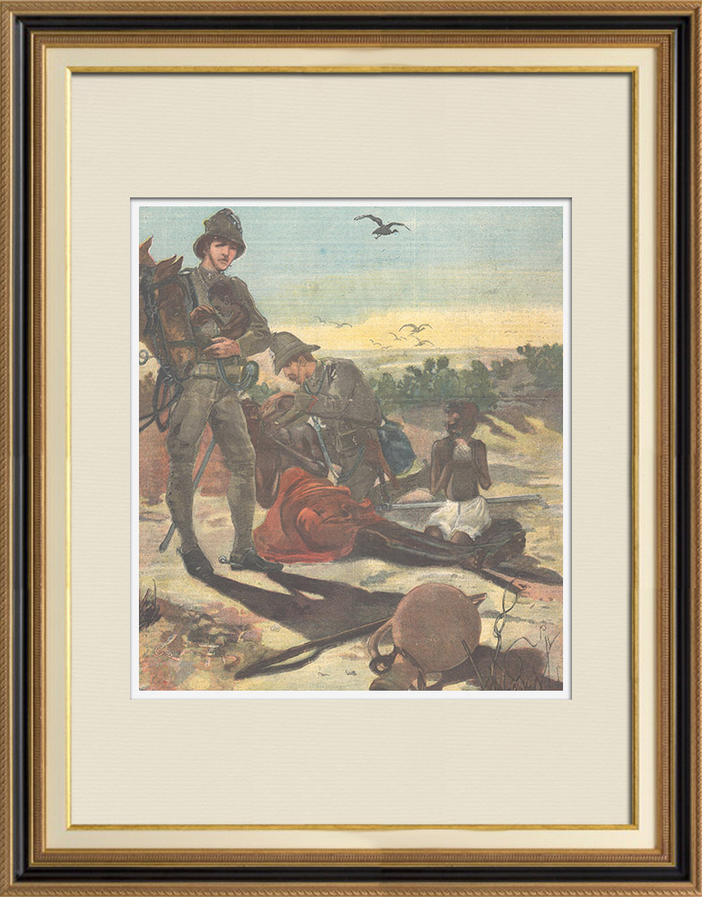 Antique Prints & Drawings   Italo-Ethiopian War'end - Italian soldiers with hungry children - Ethiopia - 1896   Wood engraving   1896