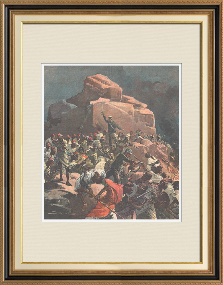 Antique Prints & Drawings   Italo-Ethiopian War - Amba Debra - Oreste Baratieri - Eritrea - 1896   Wood engraving   1896