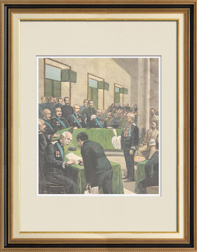 Gravures Anciennes & Dessins   Le Général Baratieri devant le Tribunal Militaire à Asmara - Érythrée - 1896   Gravure sur bois   1896
