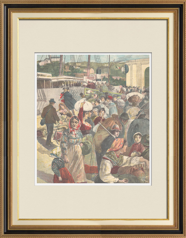 Antique Prints & Drawings | Departure of a group of italian emigrants to America - Genoa - Italy - 1896 | Wood engraving | 1896