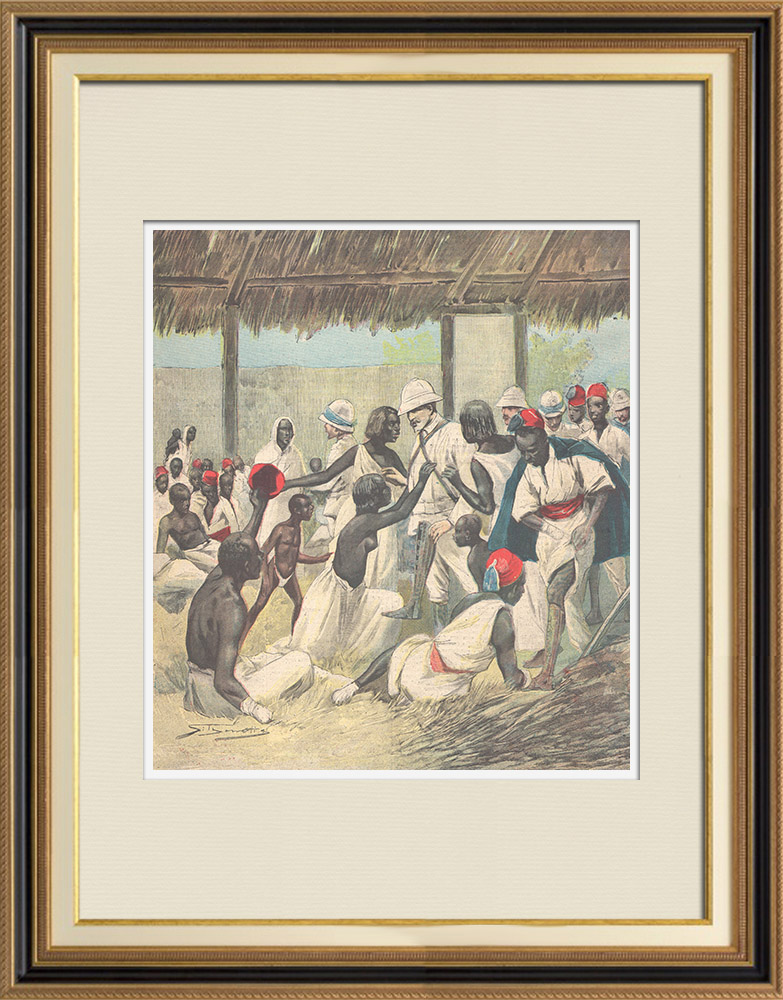 Gravures Anciennes & Dessins   Arrivée de l'orthopédiste Ernesto Invernizzi parmi les Ascari mutilés à Asmara - Érythrée - 1896   Gravure sur bois   1896