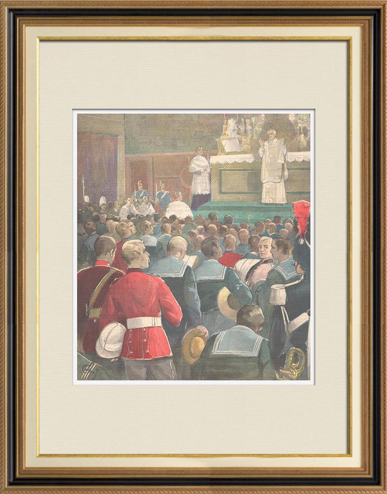 Gravures Anciennes & Dessins | Messe du Pape pour l'équipage de la flotte anglaise - Chapelle Sixtine - Vatican - 1896 | Gravure sur bois | 1896