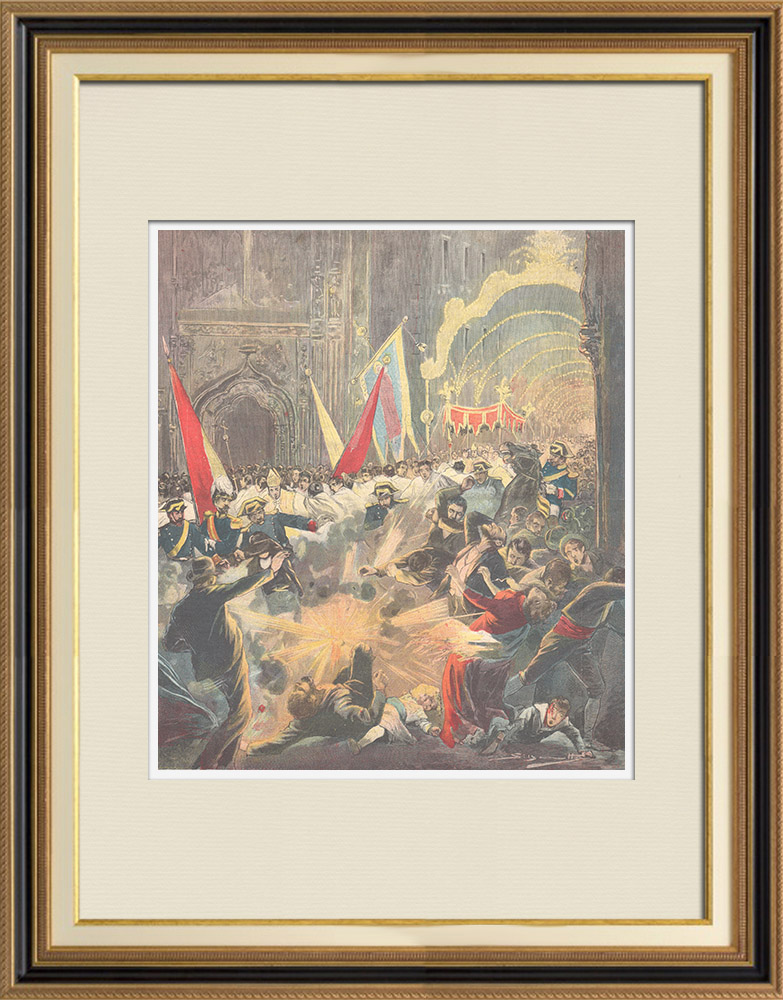 Antique Prints & Drawings   Attack during the procession of Corpus Christi in Barcelona - Spain - 1896   Wood engraving   1896