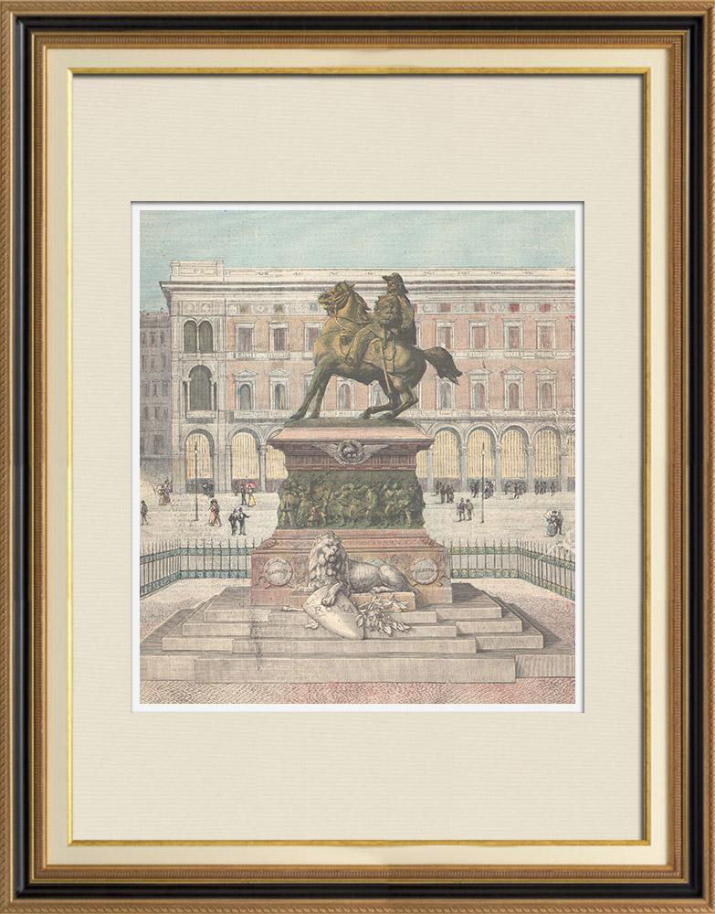 Gravures Anciennes & Dessins | Monument à Victor-Emmanuel II d'Italie à Milan - Italie - 1896 | Gravure sur bois | 1896