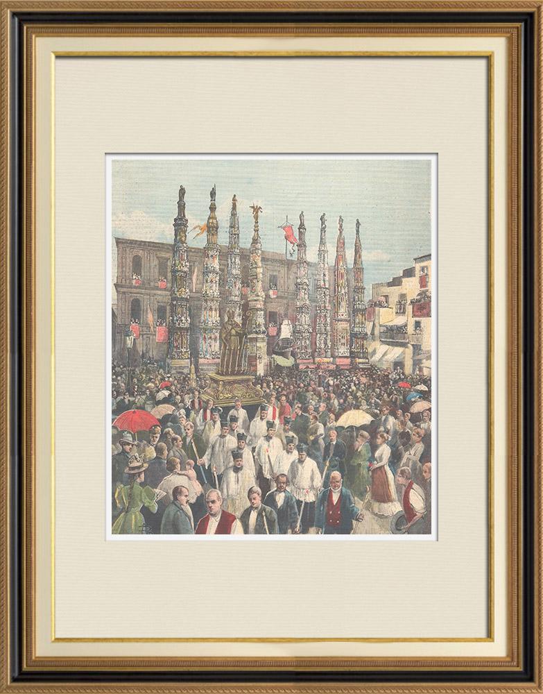 Antique Prints & Drawings   Festa dei Gigli in Nola - Naples - Campania - Italy   Wood engraving   1896