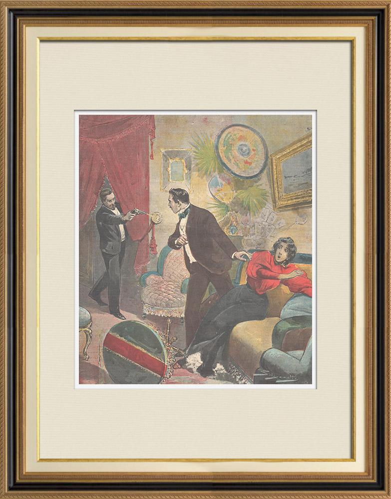 Gravures Anciennes & Dessins | Meurtre Via Napoleone III à Rome - 1896 | Gravure sur bois | 1896