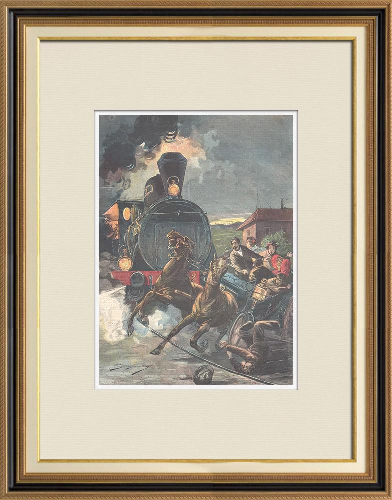 Gravures Anciennes & Dessins | Huit personnes écrasées par un train près de Graz - Autriche - 1896 | Gravure sur bois | 1896