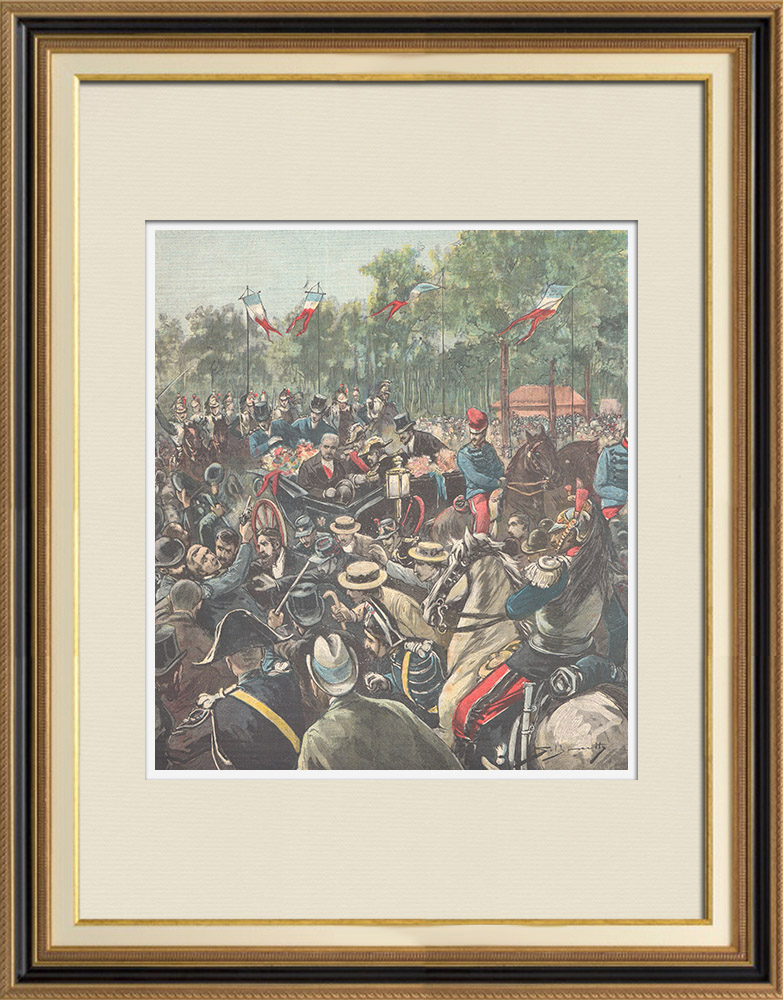 Antique Prints & Drawings | Attack against Félix Faure, President of the French Republic - Paris (1896) | Wood engraving | 1896