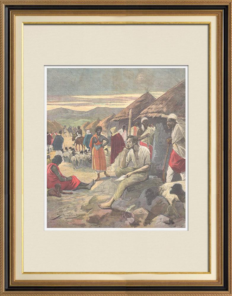 Gravures Anciennes & Dessins | Guerre italo-éthiopienne - Les soldats italiens prisonniers à Addis-Abeba - Ethiopie - 1896 | Gravure sur bois | 1896