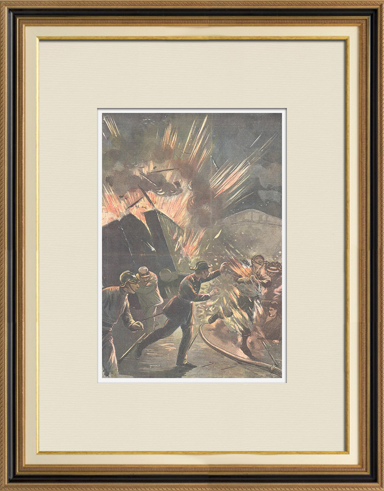 Gravures Anciennes & Dessins | Incendie à la Gare Termini de Rome - Italie - 1896 | Gravure sur bois | 1896