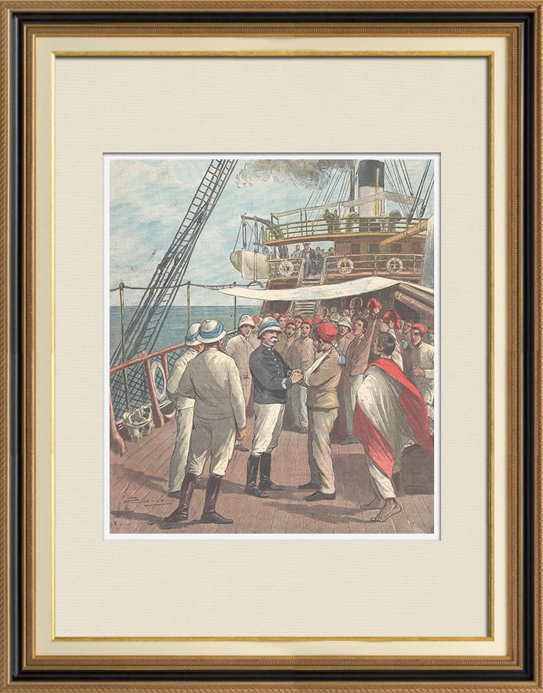 Antique Prints & Drawings | Italo-Ethiopian War - Arrival of released prisoners in Massawa - Eritrea - 1896  | Wood engraving | 1896