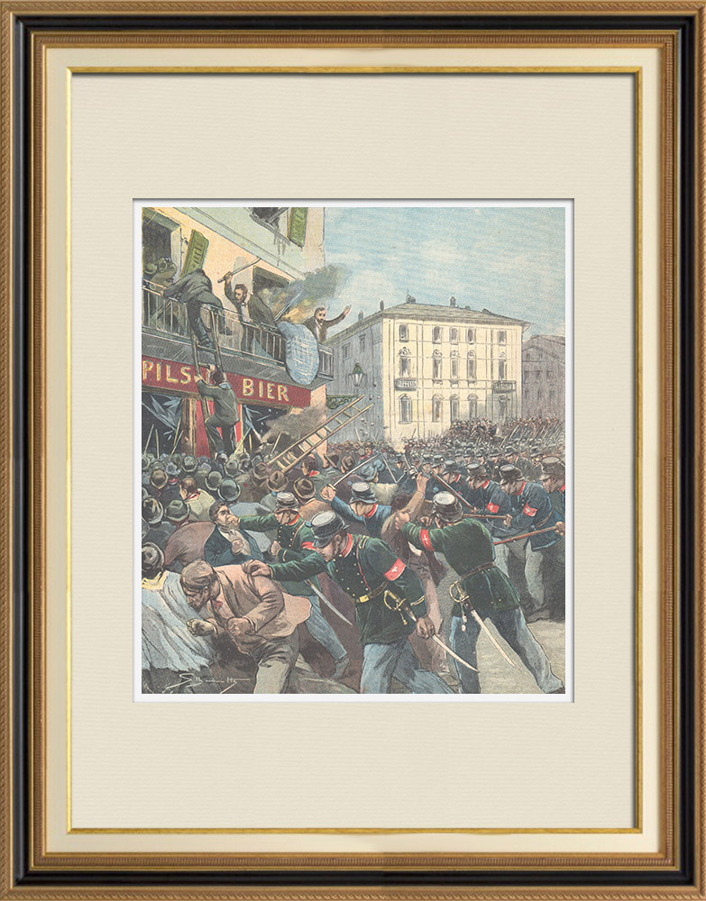 Antique Prints & Drawings | Riots in Zurich - Switzerland - 1896 | Wood engraving | 1896