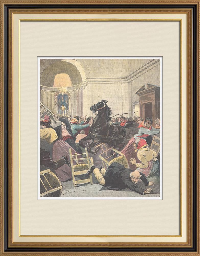 Gravures Anciennes & Dessins | Un cheval entre dans la Basilique de Notre-Dame du Bon conseil à Naples - Italie - 1896 | Gravure sur bois | 1896