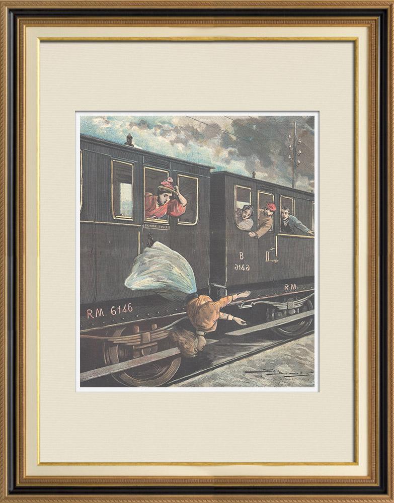 Gravures Anciennes & Dessins   Suicide sur la ligne de chemin de fer Turin-Milan - Italie - 1896   Gravure sur bois   1896