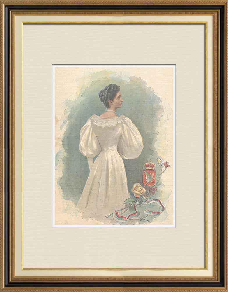 Antique Prints & Drawings   Portrait of Princess Elena of Montenegro (1873-1952)   Wood engraving   1896