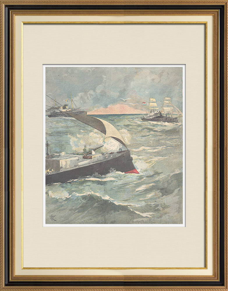 Antique Prints & Drawings | Capture of a Dutch steamer by Italian ships in the Red Sea - 1896 | Wood engraving | 1896