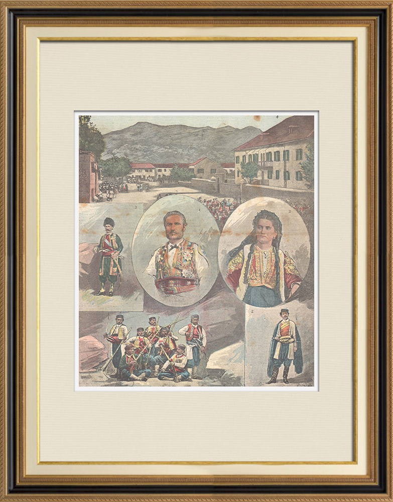 Antique Prints & Drawings | Traditional costumes of Montenegro - XIXth Century | Wood engraving | 1896
