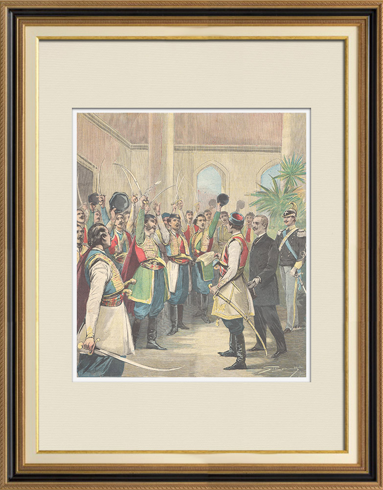 Antique Prints & Drawings | Hurray of Montenegrin officers to King Umberto I of Italy - Montenegro - 1896 | Wood engraving | 1896
