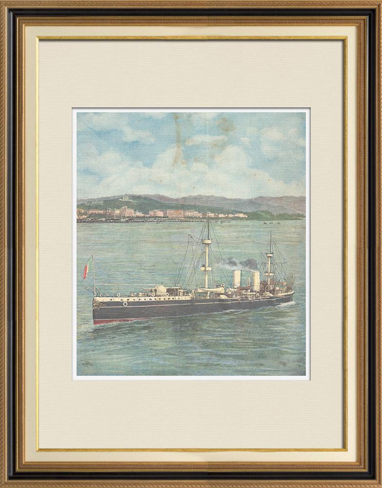 Antique Prints & Drawings | Italian army - Warship - Cruiser Piemonte - XIXth Century | Wood engraving | 1896