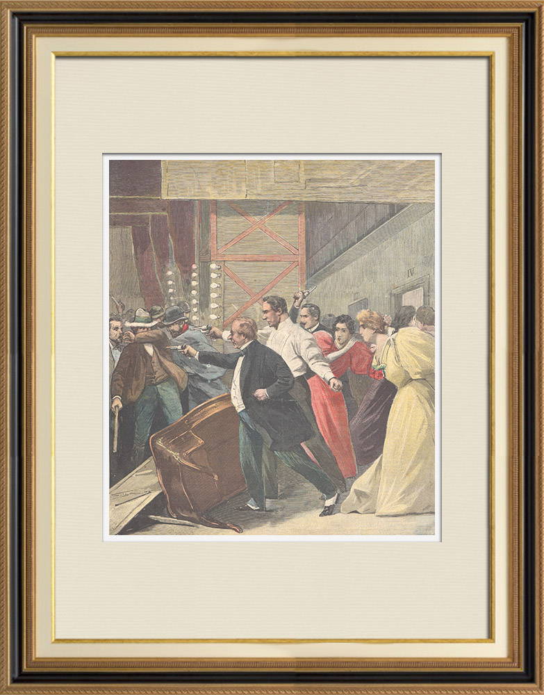 Antique Prints & Drawings   Riots at Teatro Massimo de São Paulo in Brazil - 1896   Wood engraving   1896