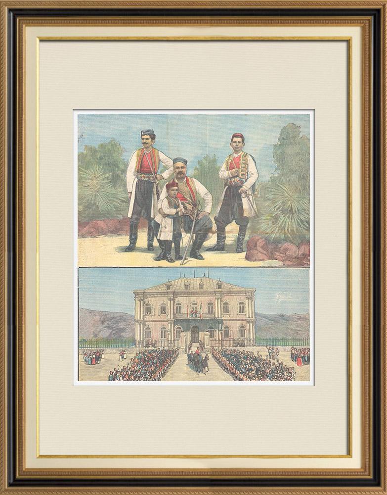 Gravures Anciennes & Dessins   Portrait de Nicolas Ier de Monténégro (1841-1921) et ses trois fils   Gravure sur bois   1896